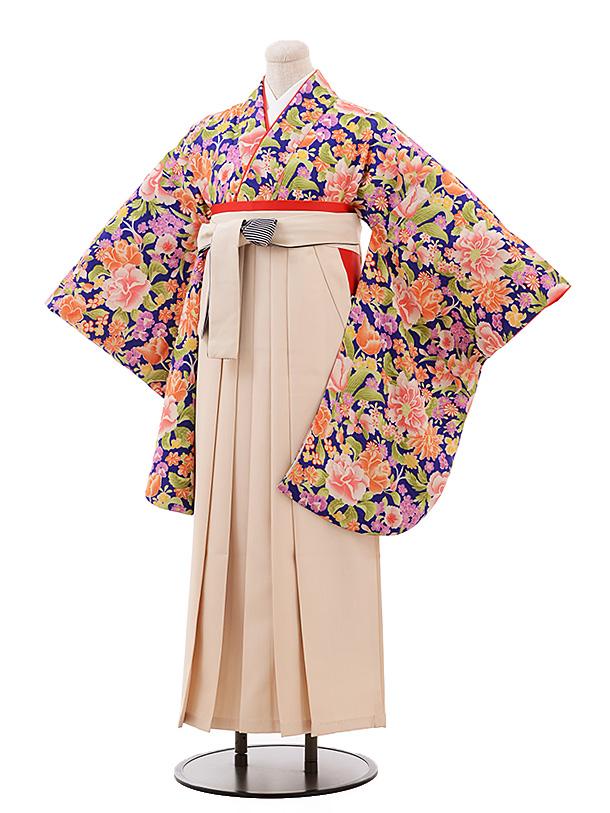 卒業袴レンタル h187 モダンアンテナ(着物のみ) 青紫花×クリーム袴