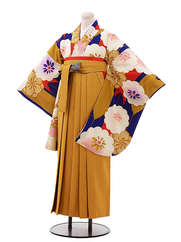 卒業袴レンタル h189 紅一点(着物のみ) 紺地花×からし色袴