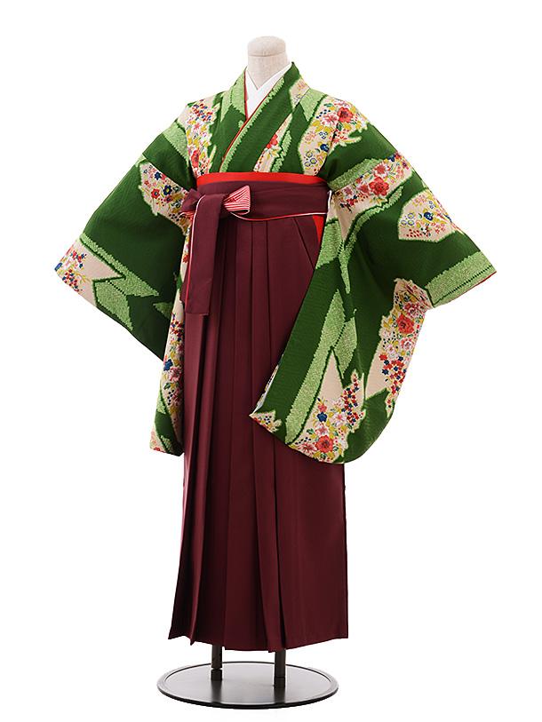 卒業袴レンタル h190 モダンアンテナ(着物のみ) レトロ緑花×エンジ袴