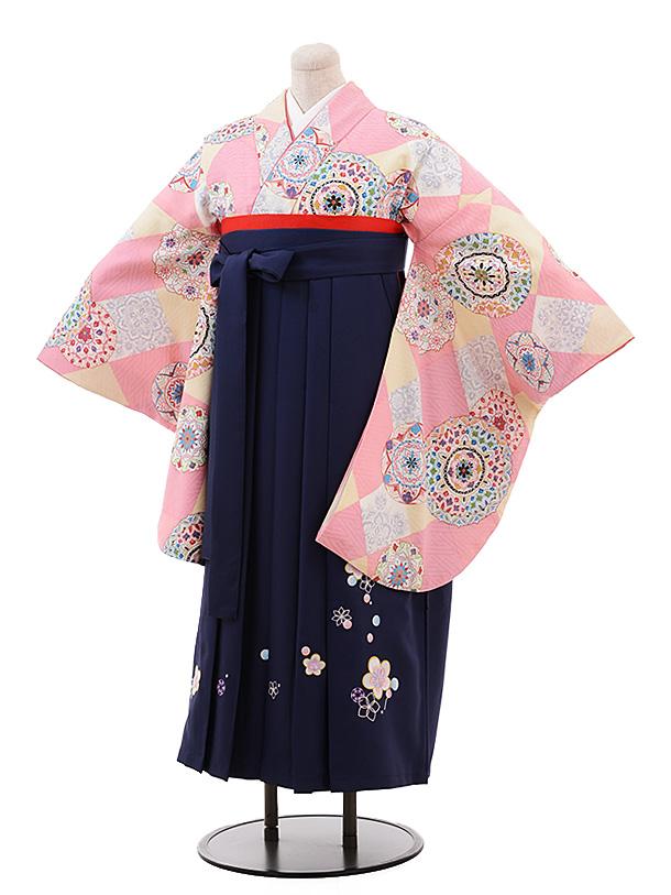 【ふくよかサイズ】卒業袴レンタル h197 ピンク 裏鏡 梅×紺袴