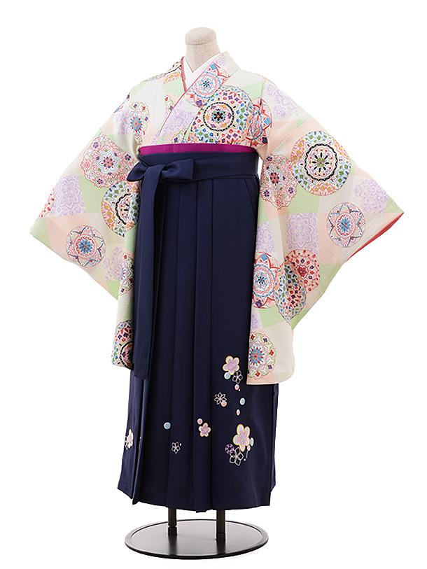 【ふくよかサイズ】卒業袴レンタル h199 うす黄緑 裏鏡×紺袴