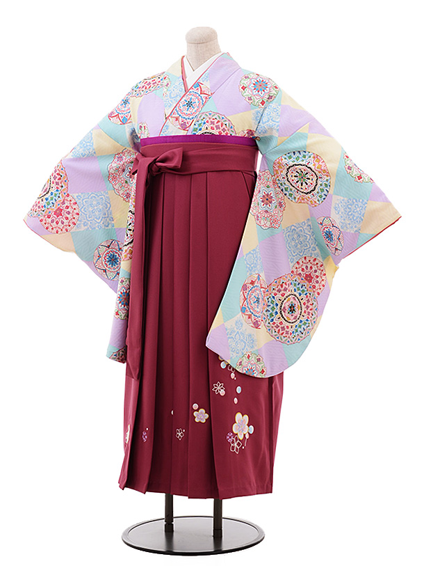 【ふくよかサイズ】卒業袴レンタル h200 うす紫 裏鏡×エンジ袴