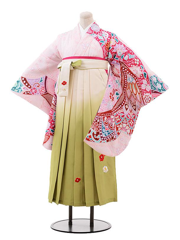 卒業袴レンタル h202 ピンク地 絞り×クリームぼかし袴