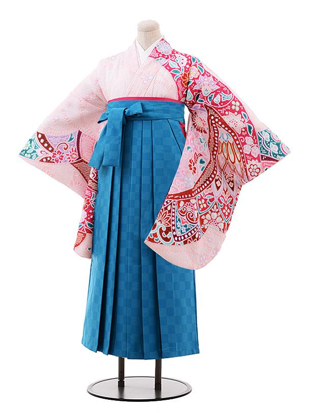 卒業袴レンタル h204 ピンク地 絞り×ターコイズ袴