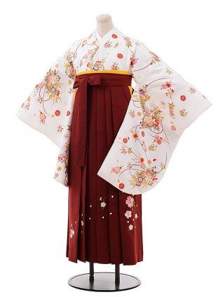 卒業式袴レンタル h238 白地 小花×エンジ袴
