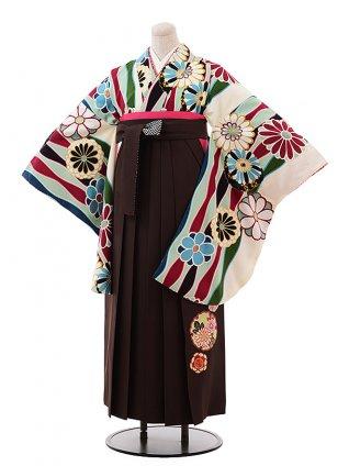 卒業式袴レンタル h246 九重 クリーム地 菊×茶色袴