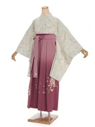 卒業袴h305 パステルグリーン x ピンクぼかし袴