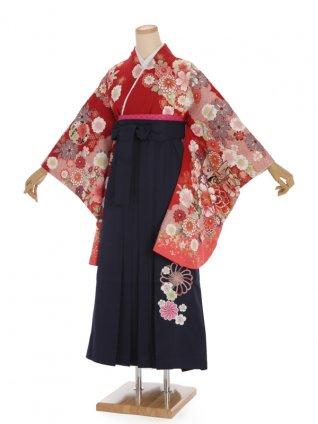 卒業袴h326 赤地 花とかのこ柄 x 紺袴