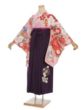 卒業袴h333 ピンク地 牡丹 x 紫袴