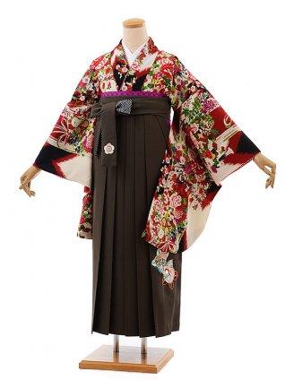 卒業式袴レンタルh388九重赤矢羽根ブーケ×チャコールグレー袴