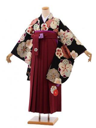卒業式袴レンタルh396はいばら黒地ねじり梅×エンジ袴