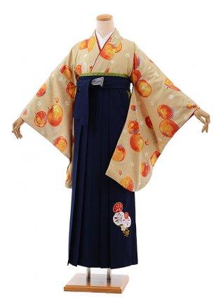 卒業式袴レンタルh583モダンアンテナベージュ地りんご×紺袴