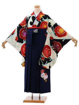 卒業式袴レンタルh596紅一点黒白梅×紺袴