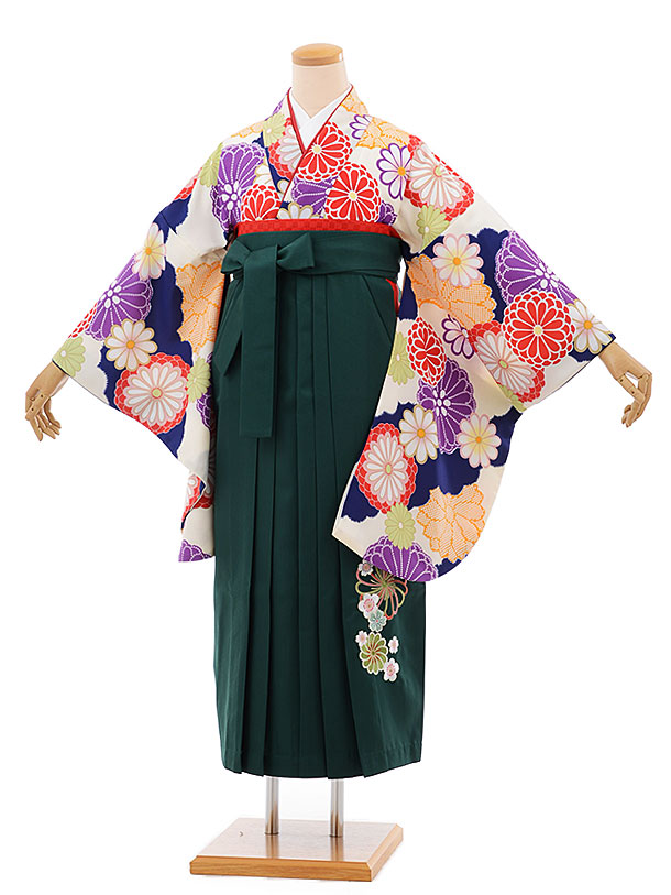 卒業袴レンタル h678 クリーム色地 菊 x グリーン袴