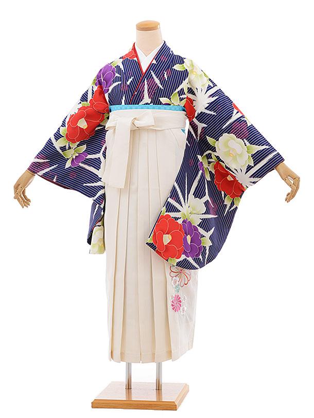 卒業袴レンタル h681 紺地 ストライプ 椿 x クリーム色袴
