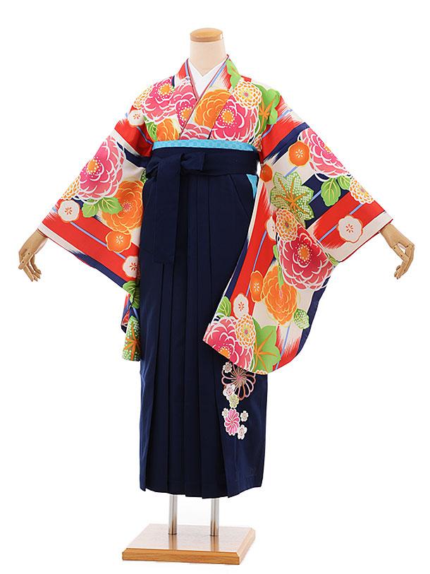 卒業袴レンタル h685 白赤 矢羽根に花 x 紺袴