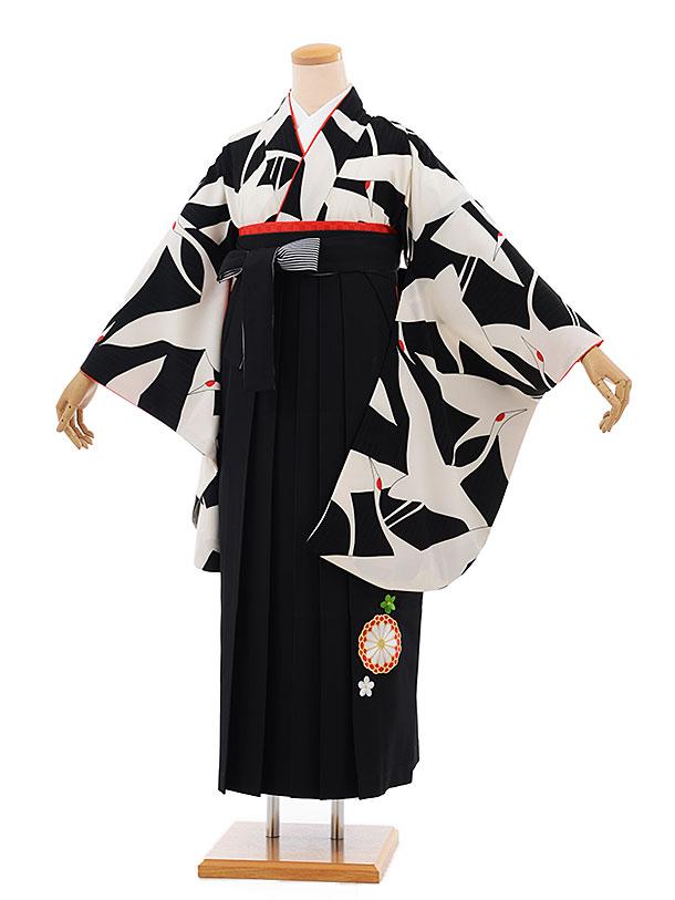 卒業袴レンタル h687 黒地に鶴 x 黒袴