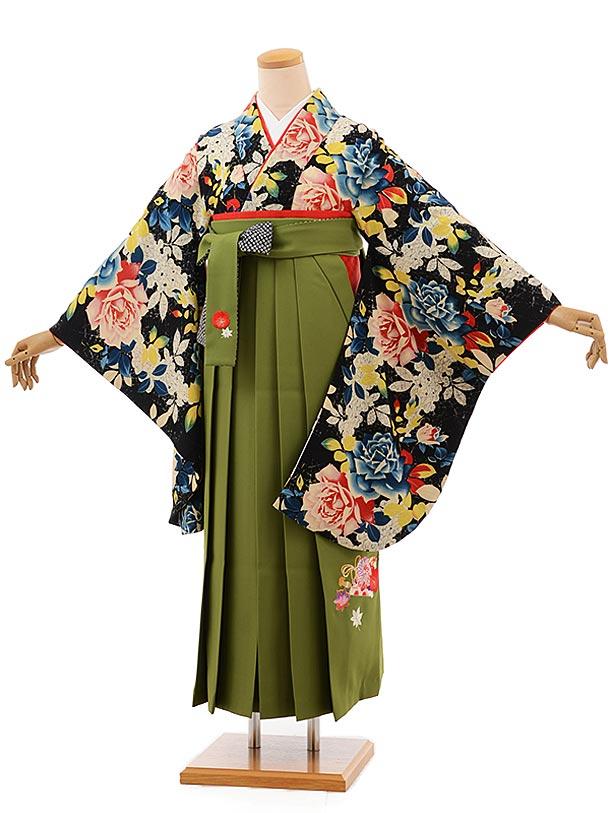 卒業袴レンタル h695 黒地バラ×抹茶色袴