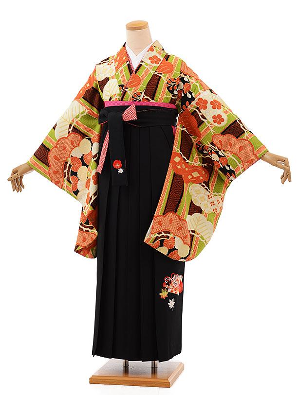 卒業袴レンタル h698 グリーン地古典×黒袴