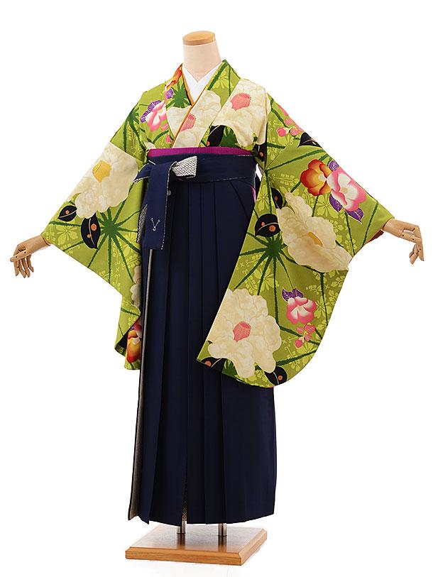 卒業袴レンタル h699 グリーン地椿×紺袴