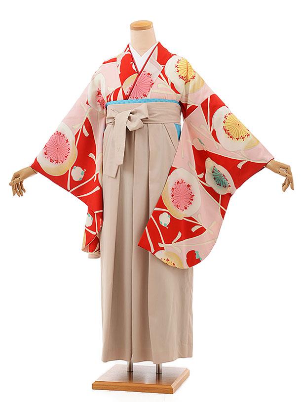 卒業袴レンタル h700 赤地梅×ベージュ馬乗り袴