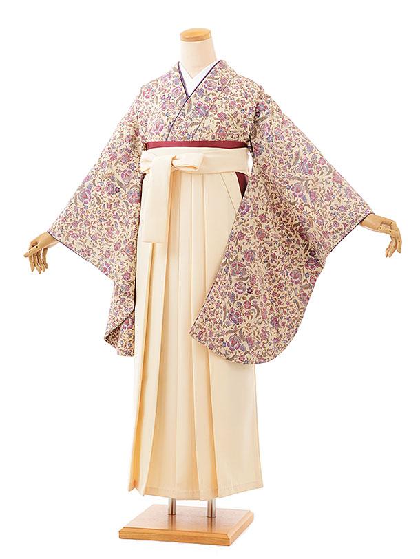 卒業袴レンタル h703 ひいな ベージュ更紗xクリーム袴