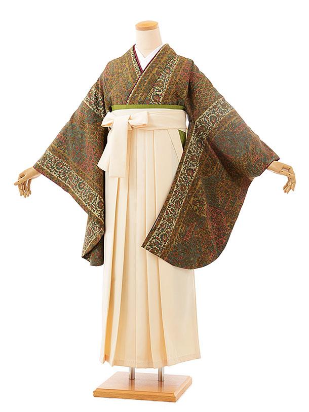 卒業袴レンタル h706 ひいな キャメル更紗xクリーム袴