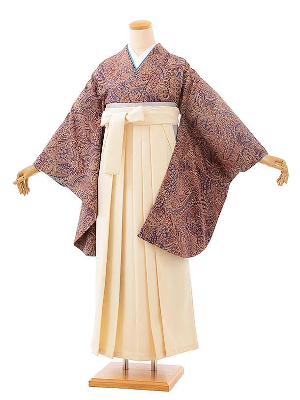 卒業袴レンタル h708 ひいな パープル更紗xクリーム袴