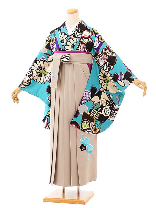卒業袴レンタル h713 JAPANSTYLEx中村里砂 ターコイズ扇面に菊xモカ袴