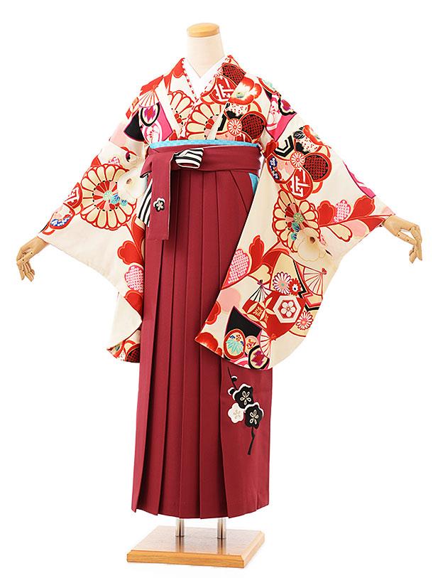 卒業袴レンタル h716 JAPANSTYLEx中村里砂 クリーム扇面に菊xエンジ袴
