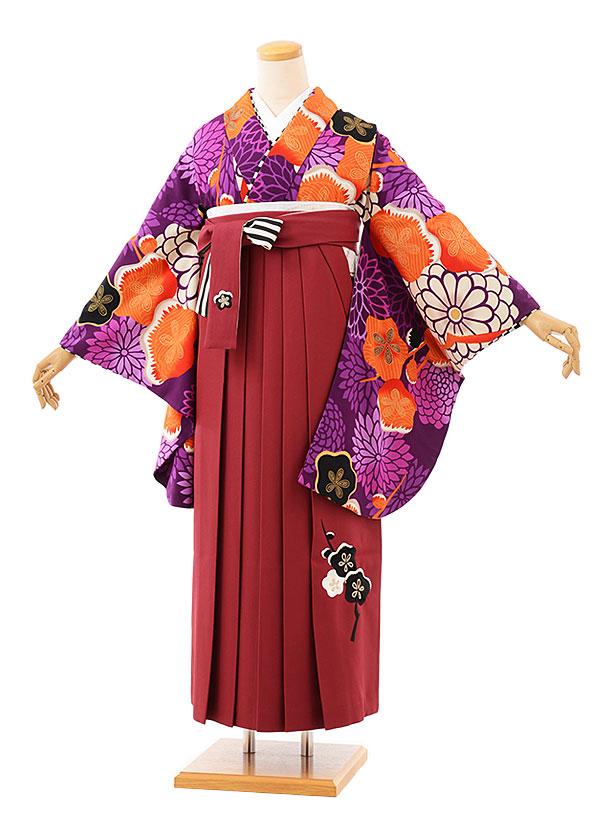 卒業袴レンタル h717 JAPANSTYLEx中村里砂 パープル地梅xエンジ袴