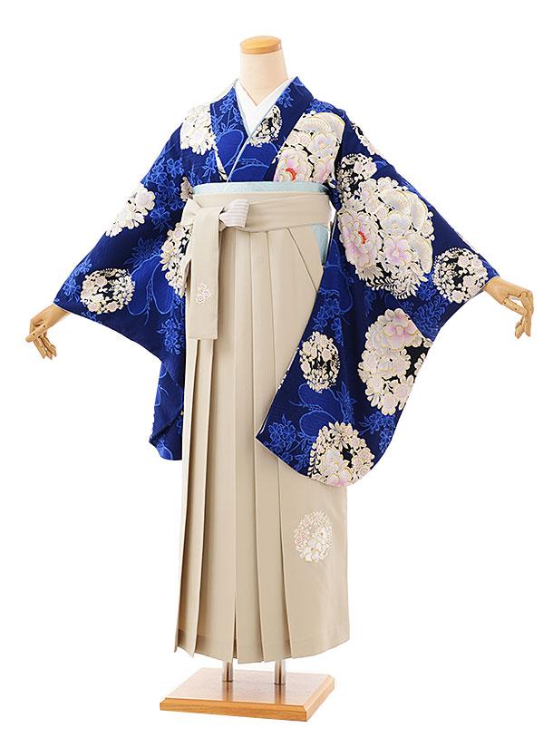 卒業袴レンタル h724 NATURAL BEAUTY 紺花丸紋xアイボリー袴