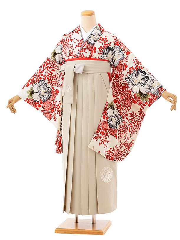卒業袴レンタル h725 NATURAL BEAUTY 白赤牡丹xアイボリー袴