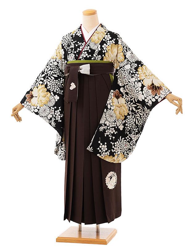 卒業袴レンタル h726 NATURAL BEAUTY 黒牡丹xブラウン袴