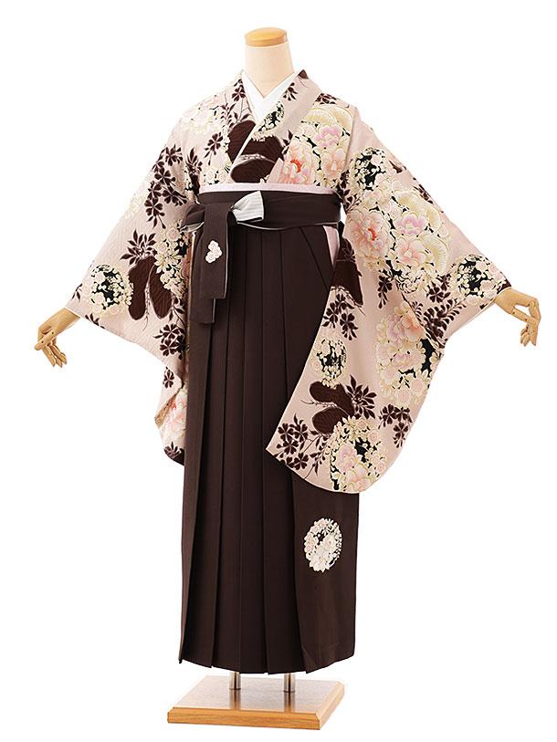 卒業袴レンタル h727 NATURAL BEAUTY ベージュ花丸紋xブラウン袴