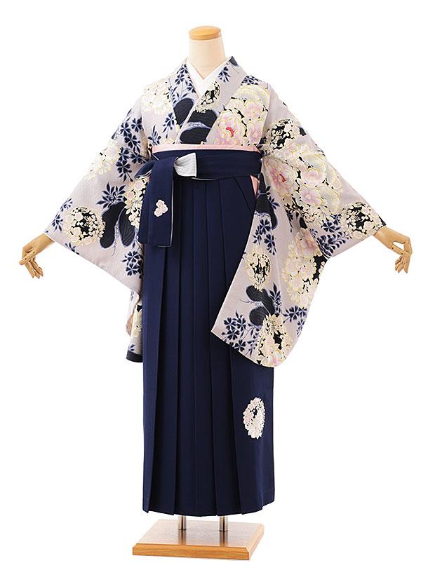 卒業袴レンタル h728 NATURAL BEAUTY グレー花丸紋xネイビー袴