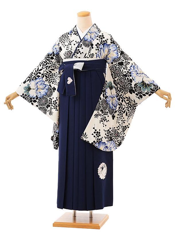 卒業袴レンタル h729 NATURAL BEAUTY 白紺牡丹xネイビー袴