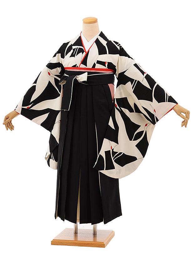 卒業袴レンタル h746 黒地鶴x黒袴
