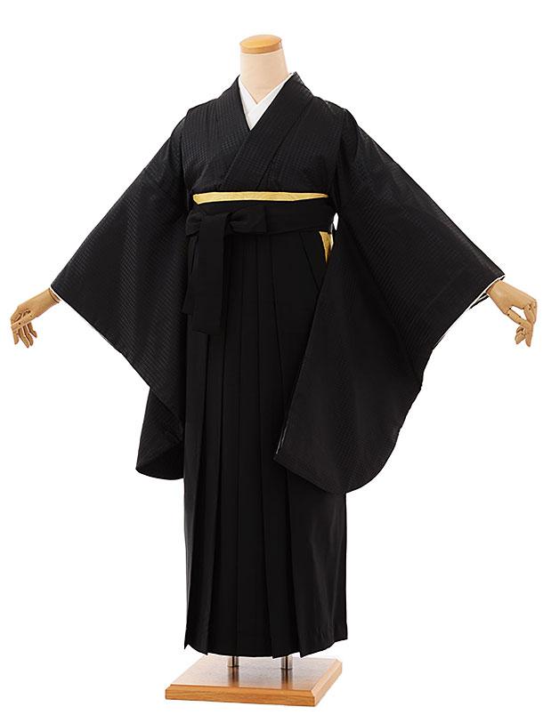 卒業袴レンタル h752 黒地模様入りx黒袴
