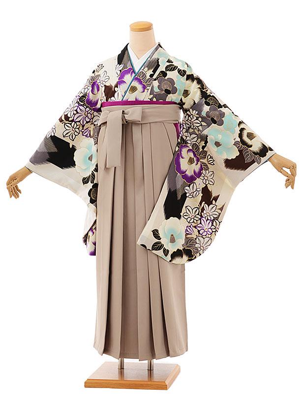 卒業袴レンタル h753 オフホワイト椿xベージュ袴