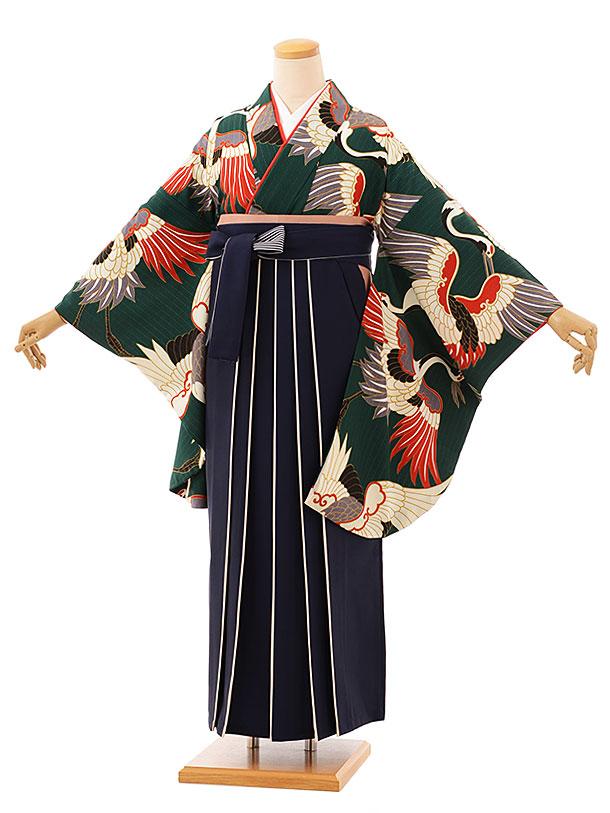 卒業袴レンタル h757 グリーン鶴x紅白袴