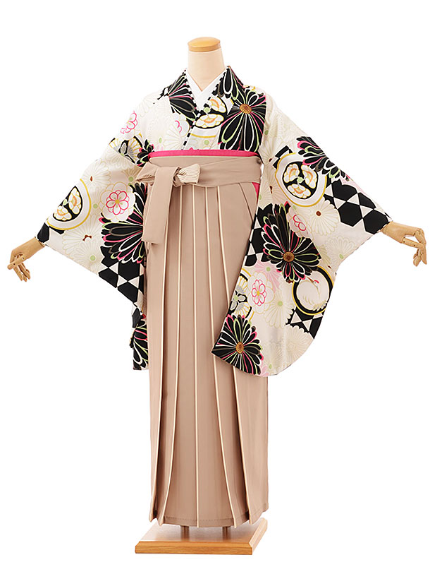 卒業袴レンタル h760 オフホワイト菊xベージュアイボリー袴