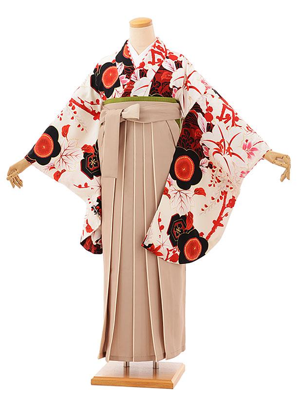 卒業袴レンタル h762 白地梅百合xベージュアイボリー袴