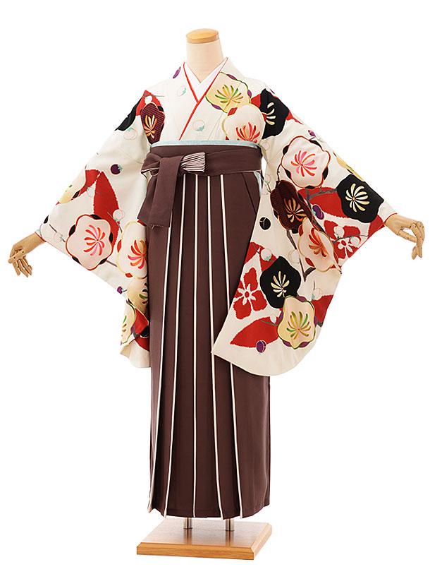 卒業袴レンタル h763 オフホワイト梅xブラウンアイボリー袴