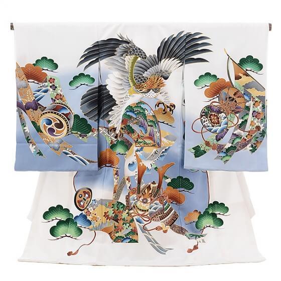 ▶男児産着(お宮参り)1087白 鷹