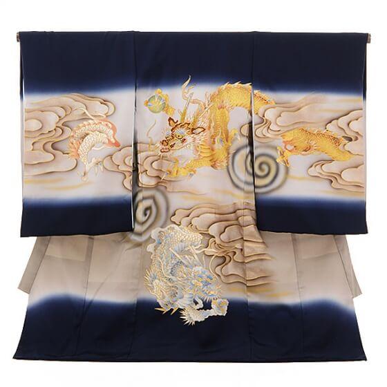 産着レンタル 男の子(お宮参り)1090紺 龍(正絹)