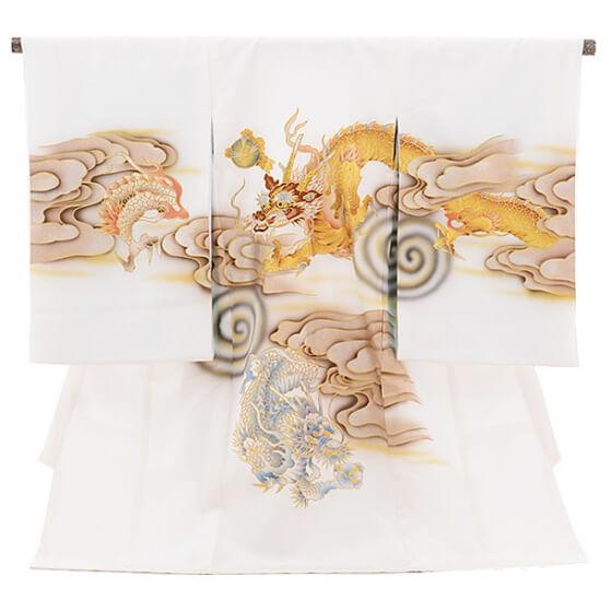 産着レンタル 男の子(お宮参り)1091白 雲龍(正絹)