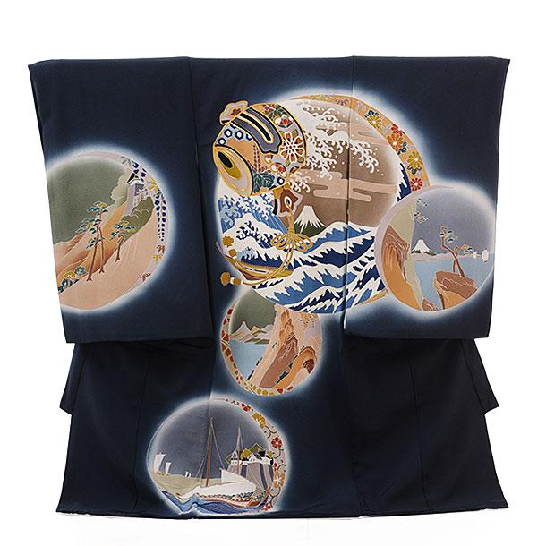 高級正絹産着レンタル 男の子(お宮参り)1139 葛飾北斎 木版画