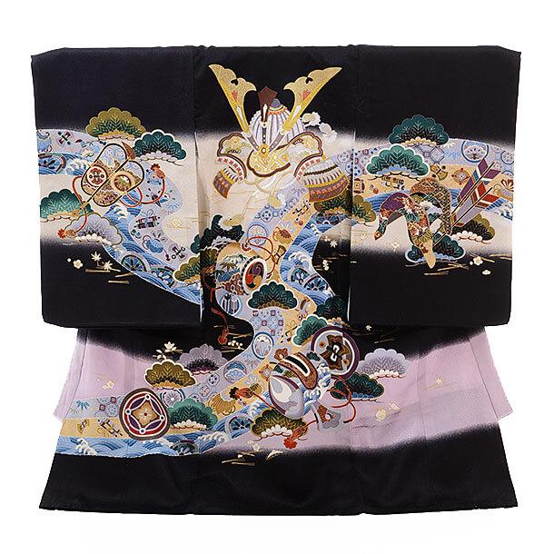 産着レンタル 男の子(お宮参り)1180 黒地 松かぶと刺繍