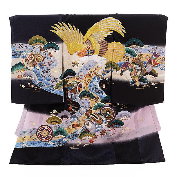 産着レンタル 男の子(お宮参り)1183 黒地 宝尽しに鷹刺繍